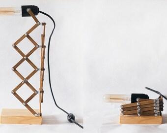items similar to adjustable desk table lamp wooden light lighting wooden geometric wood. Black Bedroom Furniture Sets. Home Design Ideas