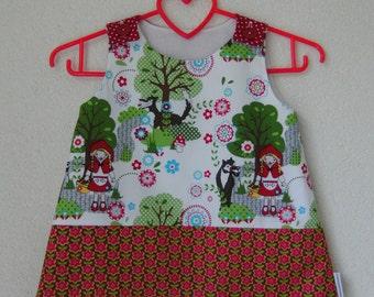 A line dress pinafore Little red ridinghood Rotkäppchen roodkapje a lijn jurkje kleid fairy tale size 1-2