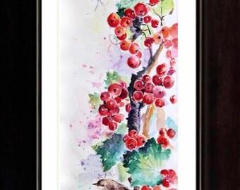 Currants, Painting, Original Watercolor Painting, Boba painting, Watercolor art