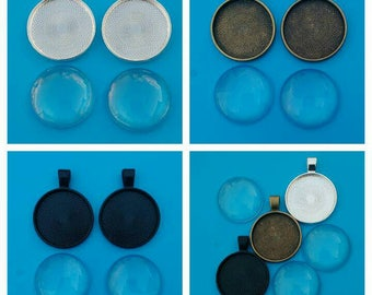 2/3x bezel settings pendant trays bases blanks silver bronze black with 25mm glass domes cabochon diy Findings jewellery making jewelry UK