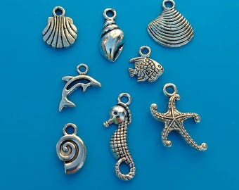 16x shell Charms silver seaside Seashells conch Clam oyster starfish Dolphin seahorse beach Holiday findings Bracelet sea Shells uk