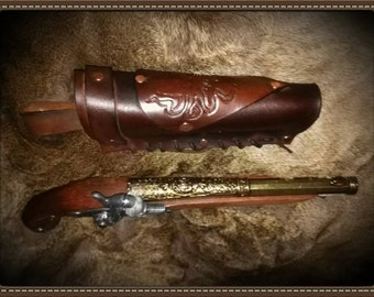 Leather holster for Flint lock cap gun or Colt Navy .45