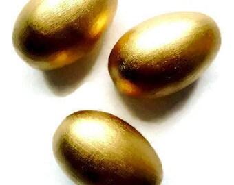 Golden Easter Eggs/ Easter  3  Wooden Eggs/ Waldorf  Easter Eggs in Bag