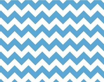 "Riley Blake Designs     ""Medium Chevron"" in Neon Blue    100% Cotton Remnant"