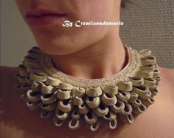 Necklace plastron women creator embroidered ecru leather.