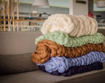 Chunky Knit Blanket, Chunky blanket, Giant merino wool yarn super Arm knitting handmade,Throw, Blanket, Afghan, birthday, Christmas gift