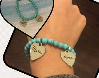 Mom and Nonna Charm on Semi Precious Turquoise Bead Bracelet