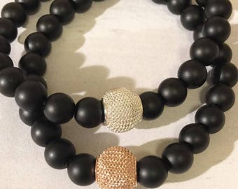Satin Black Onyx Bead Bracelet with Rose Gold and Silver Mesh Beads