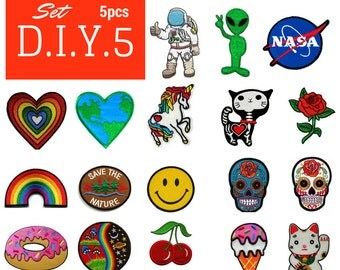 DIY5 Set of 5 Pcs ONLY 8.00 USD Choose Patch by yourself sewing Iron on Patches Embroidered Iron On Applique Patches DIY Customise Clothing