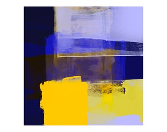 Blue & Yellow Modern Style Fine Art Print - Expressive Abstract Art, Vibrant Colours, Large Wall Art, Ideal Home Decor, Interior Design Art