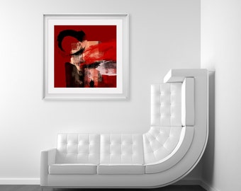 Red & Black Coloured Art Print - Expressive Style Abstract Art, Digital Fine Art Print, Modern Decor, Red Black Art, Large Size Wall Art