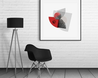 Red & Black Modern Abstract Print - large size prints giclee prints home decor vibrant colors contemporary wall art open edition prints