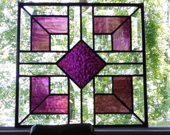 Purple stained glass and clear bevel panel