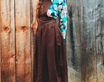70's handmade chocolate brown cotton pinafore with sweet patterned lining