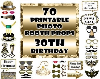 30th Birthday Photo Booth Props Black and Gold over 70 Adult Classy Glitter Printable Instant Download party favor game photo props