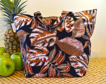 Hawaiian Print Shopping Bag in Black and Brown with a Unique Flair, Autumn or Winter Colors Hawaiian Print Market Bag, Folding Cotton Tote