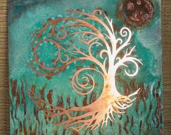 Copper tree of life patina art