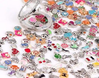 Free Shipping 50 pcs Mixed style Floating Charms  for Floating/Memory Lockets-Christmas, Family, Initials...