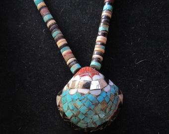 Wonderful Multi Stone Inlay Shell Turquoise MOP Native Style Necklace (E89)