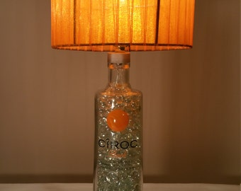 Ciroc Peach Vodka Bottle Lamp and Orange Lamp Shade