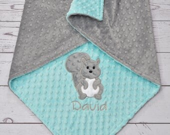 Personalized Minky Baby Blanket-Woodland baby blanket-Squirrel Monogrammed Blanket-Squirrel Minky Blanket-girl blanket-boy blanket