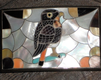 Vintage Porfilio Sheyka Inlaid Zuni Sterling Silver Red-Tailed Hawk Belt Buckle