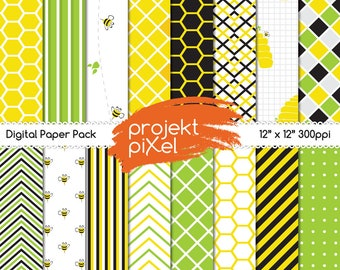 Digital scrapbook paper of bees, printable bee hive paper, bumble bee digital paper set, bee art, bee pattern, honeycomb pattern.