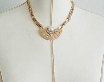 Vintage Park Lane Golden Pearl Fan Necklace