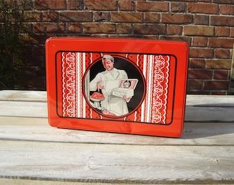 Boite tôle Brouwer Piller. Boucherie Charcuterie Vintage. Tin box. Anvers Nederland