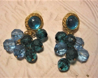 Vintage Dangle Pierced Earrings, Teal And Blue, Gold Tone, Vintage Jewelry