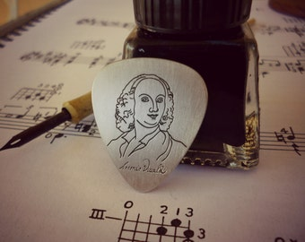 Antonio Vivaldi Silver pick, Classical Music, Gift for Violin Player, Music Present, Plettro Personalizzato, Luxury Gift, Music Jewelry