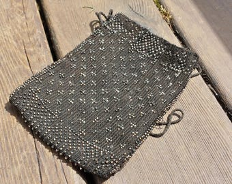 Small Black Beaded Coin/Keepsake Pouch