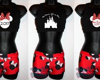 Custom Minnie Mouse - Wacki Set - Adorable Minnie Mouse Wacki shorts and super cute sports bra!