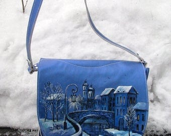 Leather bag, painting, city, cityscape, blue, winter, cityscape, drawing