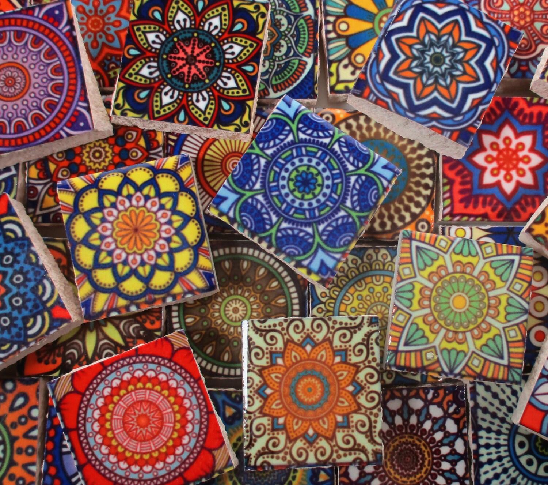 Ceramic Mosaic Tiles Vintage Colors Medallions Moroccan Tile