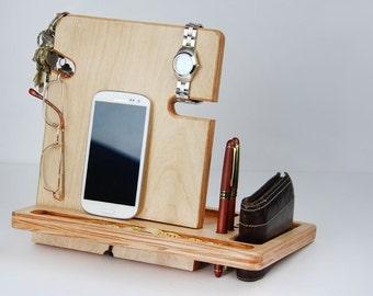 Birch Docking Station Back to School Gift Dorm Desk iPad Dock Engraved Gift for Husband Gift for Groomsmen Gift AppleWatch Dock Tablet Stand