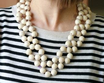 Modern Wooden Bead Necklace Wooden Jewelry Wooden necklace  Natural wood Chunky wood necklace  Wood Anniversary Gift girlfriend gift