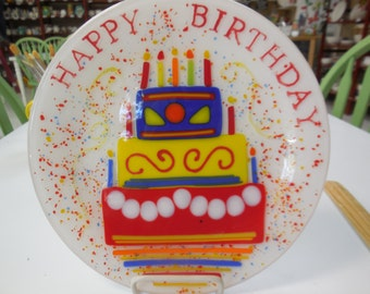 Fused glass Happy Birthday Plate