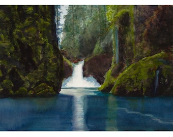 Green and Blue Lake Painting of Waterfall, Watercolor Waterfall Print,