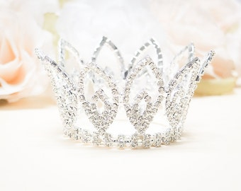 Rhinestone Mini Crown, Baby Crown, Baby Tiara, Mini Tiara, Tiny Crown Photo Prop, Princess Mini Crown