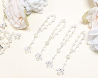 100 pcs Angel Baptism Favors Rosaries - Mini Rosary Favors - First Communion Favors - Christening Favors - Recuerdos de Bautizo
