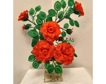 French Beaded Rose arrangement hand made with a pot
