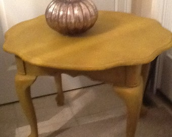 Coffee table and matching end tables, in curry chalk paint and protected with wax, lightly distressed, faint glaze
