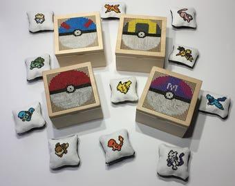 Pokeball Box & Pokemon Sprite Pillows Gift Set