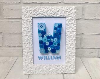 Blue button letter ornament, Personalised nursery art, Christening keepsake for boy, Baptism gift for boy, Nursery decor for boys, Baby boy