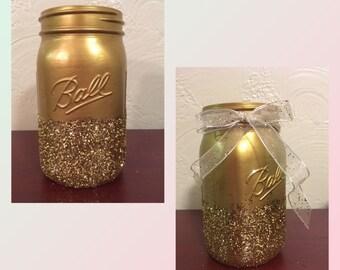 Gold glitter mason jar, Large mason jar, gold jar, wedding, centerpiece, homedecor, fall, holidays