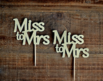 Miss to Mrs Cupcake Toppers. Bridal Shower Cupcake Toppers. Bachelorette Cupcake Toppers. Wedding Decor. Bridal Shower Decor.