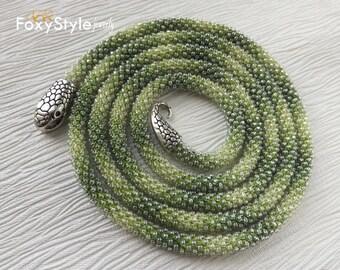layering necklace birthday gift green jewelry gift idea beaded jewelry women gift crochet jewelry bib jewelry yoga jewelry delicate necklace