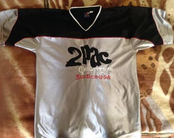 2pac jersey Tupac t-shirt, Makaveli, vintage 2pac shirt, 90s hip hop clothing, gangsta rap, old school hip-hop, 1990s OG, size M Medium