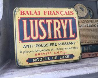 Old French Rectangular Tin Box Lustryl Shabby chic